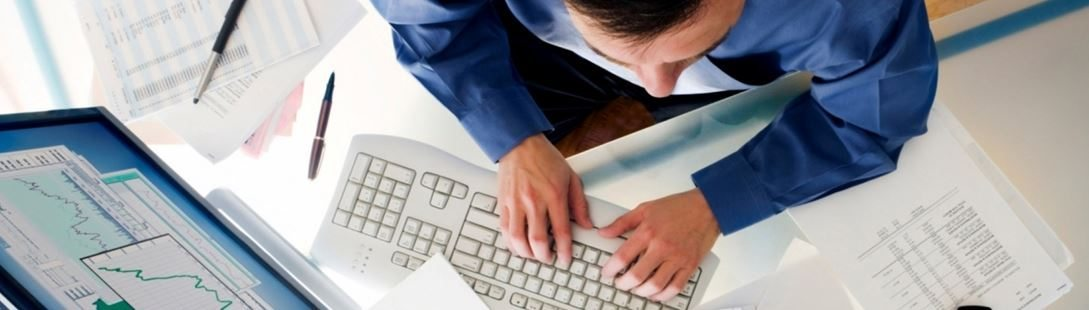 Typing at Desk