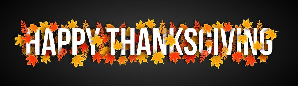 Creative banner design with white text Happy Thanksgiving ...