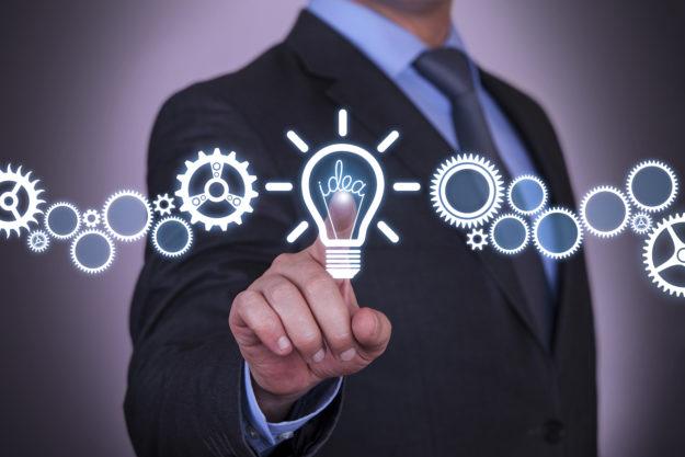 Businessman Touching Idea Concept