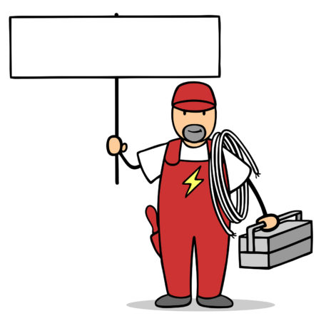 Electrician with tool box holding blank sign for marketing