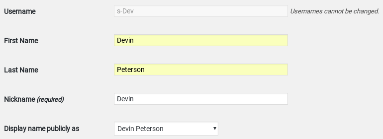 username wordpress settings screenshot