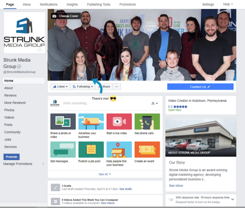 Open your business's Facebook Business Page