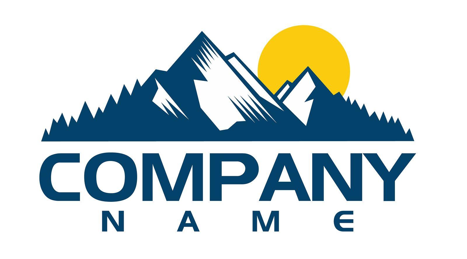 Mountain logo template. Vector design element modern style for logotype, label, badge, emblem. Mountain logo, hills logo, mountain symbol, mountain icon, rock climber logo.