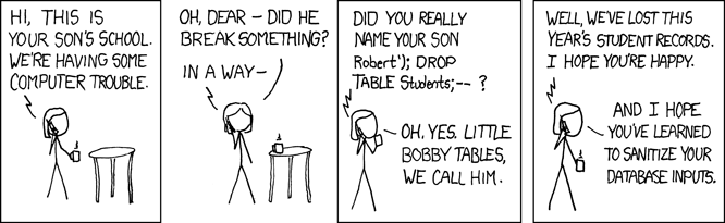 comic about sql injections school student tables deleted