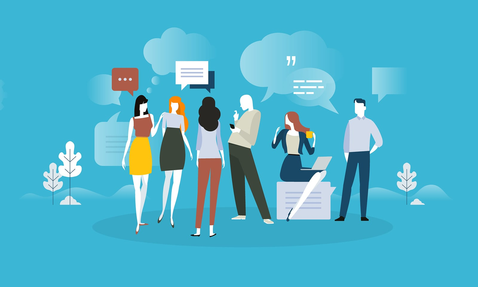client testimonials and comments. Flat design concept for social media, product review, forum, communication. Vector illustration for web banner, advertising material.