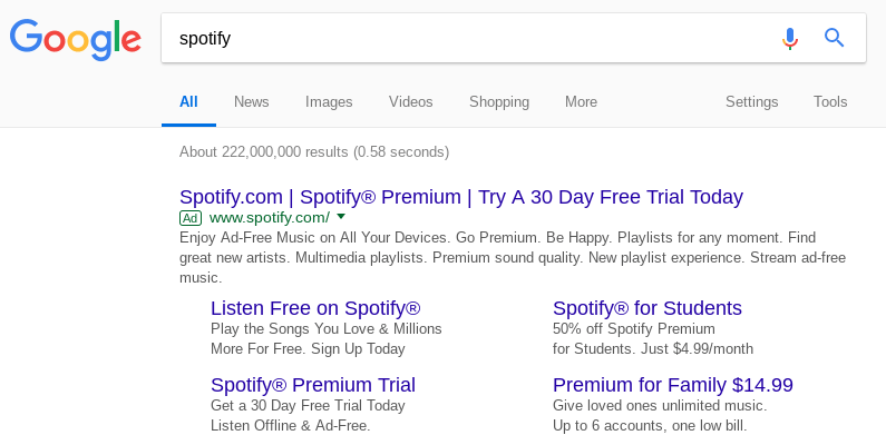 Spotify search results on Google