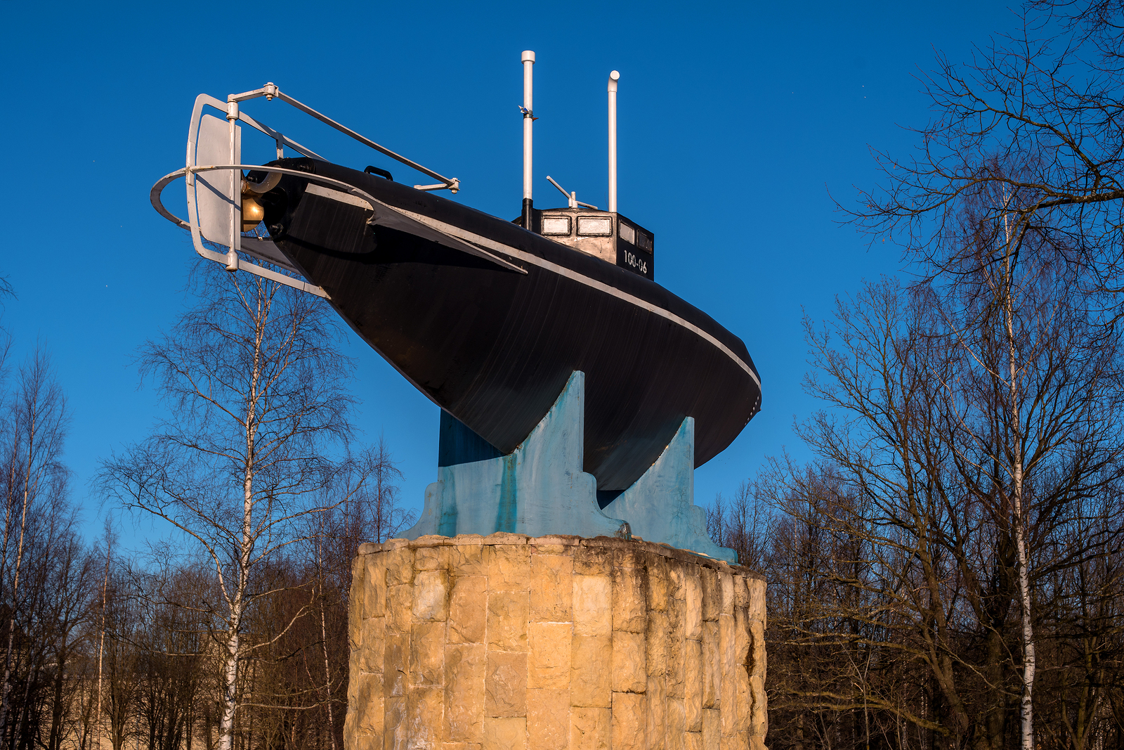 Gatchina, Russia - March 27, 2018: Monument of the first Russian submarine. Submarine was built in 1879 and tested in 1881 at Silver Lake in front of the Gatchina Palace in the presence of Emperor Alexander III.