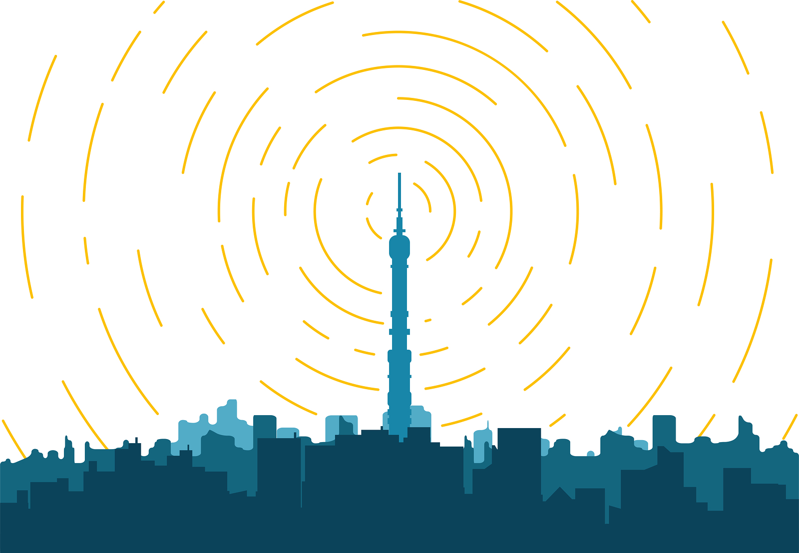 Radio transmitter. Tower with tv signal transmitter. City with buildings and skyscrapers on background. Flat style line vector illustration. Business city center with modern houses an radio tower.